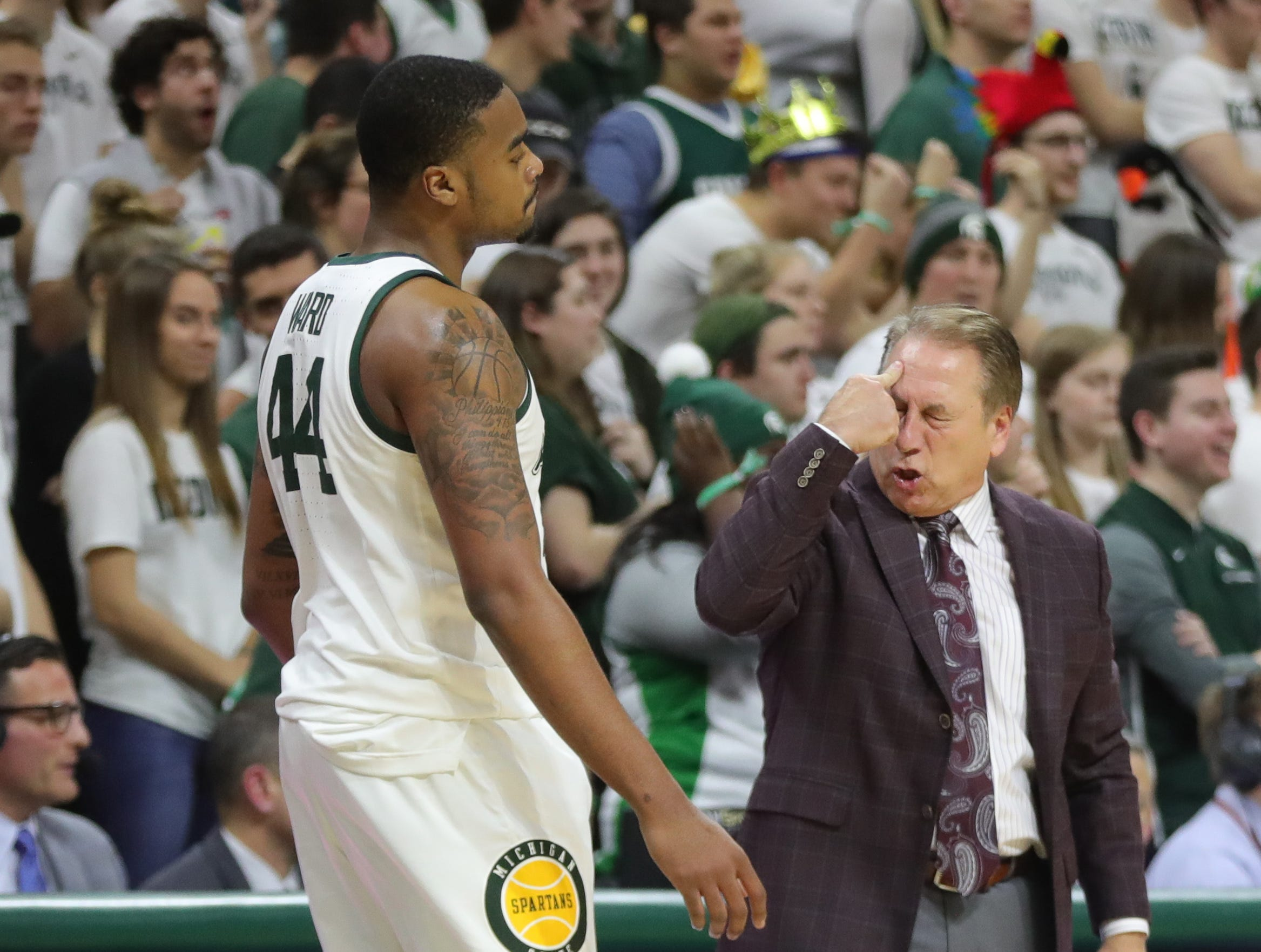 Michigan State head coach Tom Izzo has words with Nick Ward during second half action against Iowa Monday, December 3, 2018 at the Breslin Center in East Lansing, Mich.