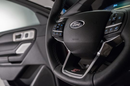 A view of the steering wheel of the new 2020 Ford Explorer ST is seen at Stage 3 Studios in Warren on Tuesday, January 8, 2019.