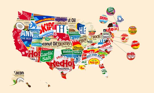 Map of favorite condiments by state.