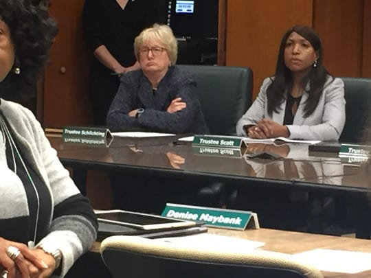 New MSU board members Brianna Scott and Nancy Schlichting listen during the board meeting on Jan. 9, 2019.