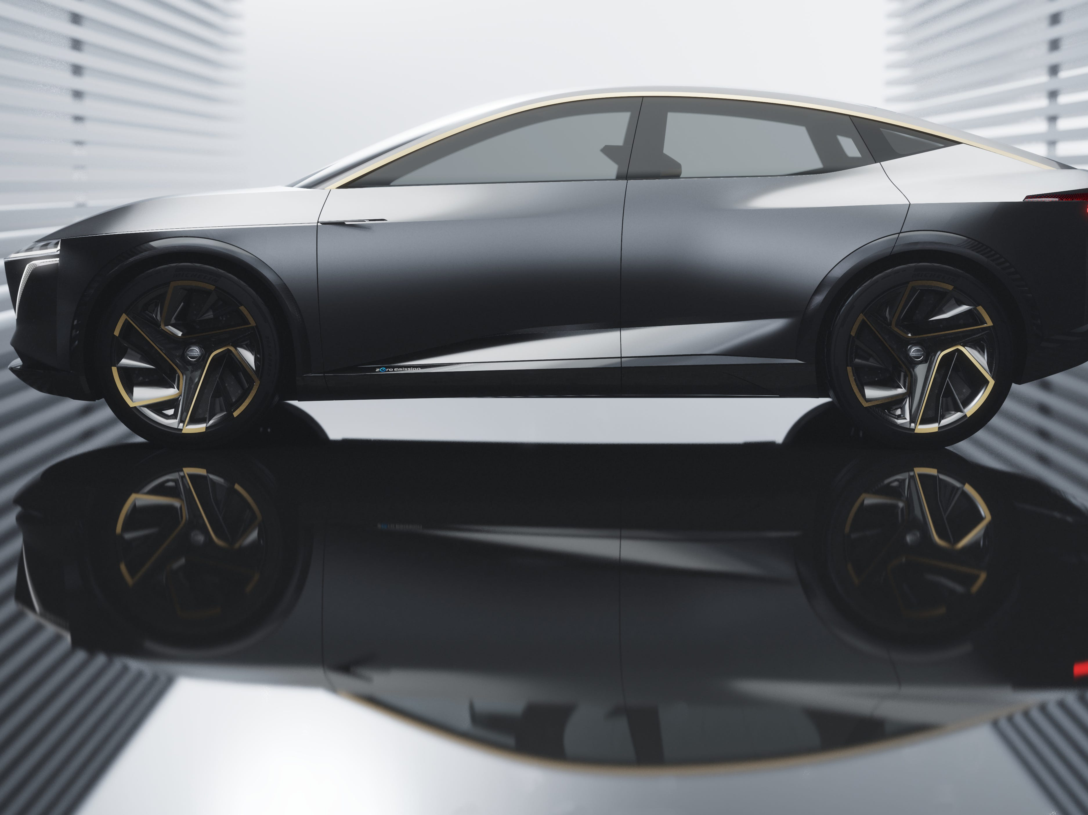 The B-pillar-less 4-door body includes reverse-opening rear doors for easy interior access, a super-thin roof structure, invisible door handles with eClinch, super-flush side windows and wing cameras in place of outside rearview mirrors. The wing cameras fold in when the IMs is in autonomous mode.