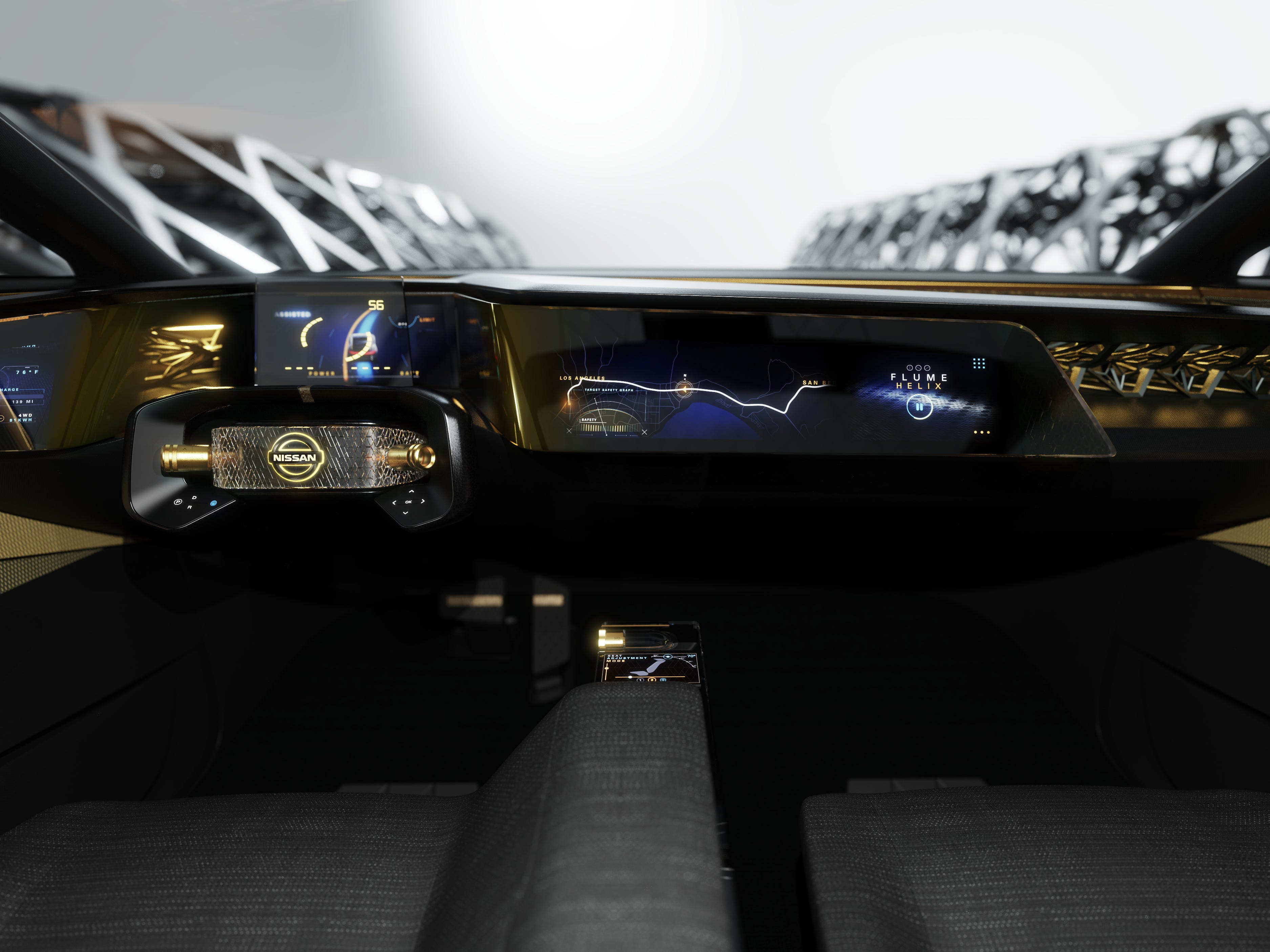 A super-thin, two-layer floating instrument-panel screen offers both technical information and a visual exploration of the world around the vehicle when desired.