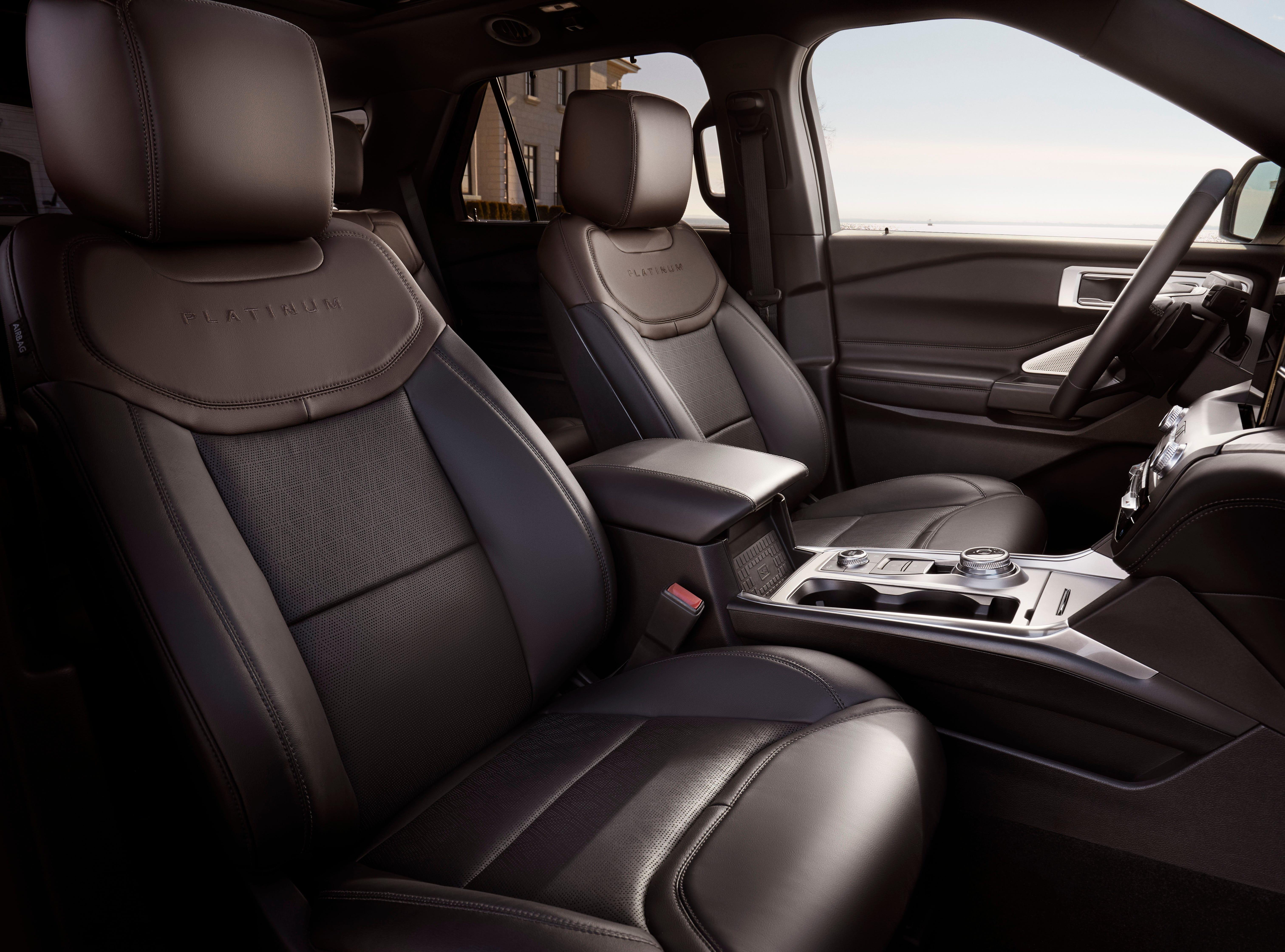 The interior of the 2020 Ford Explorer Platinum model is shown.