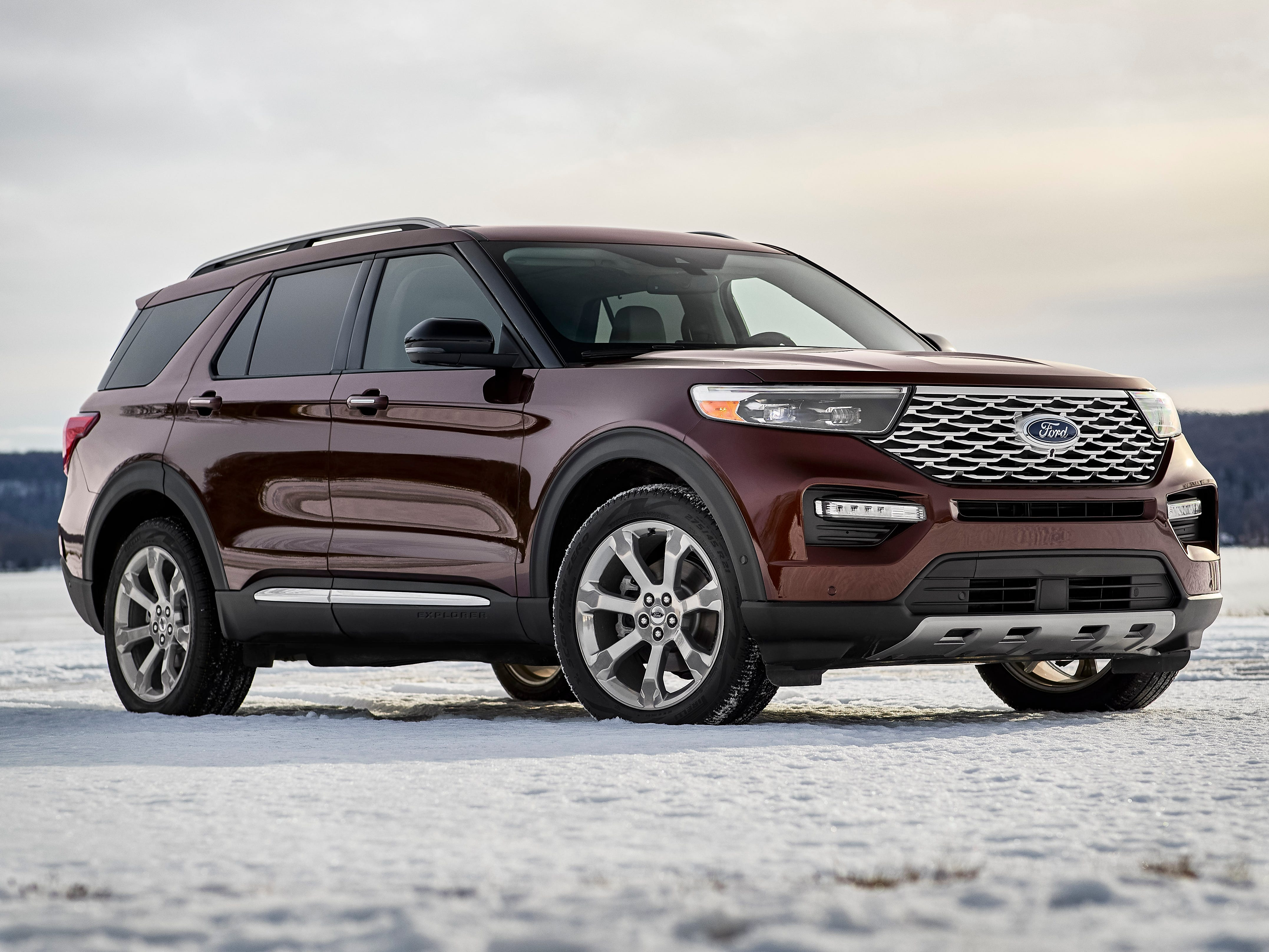 This is the 2020 Ford Explorer Platinum model. The new model Explorer, which is expected to be available this summer, features more power and space, and new smart technology.