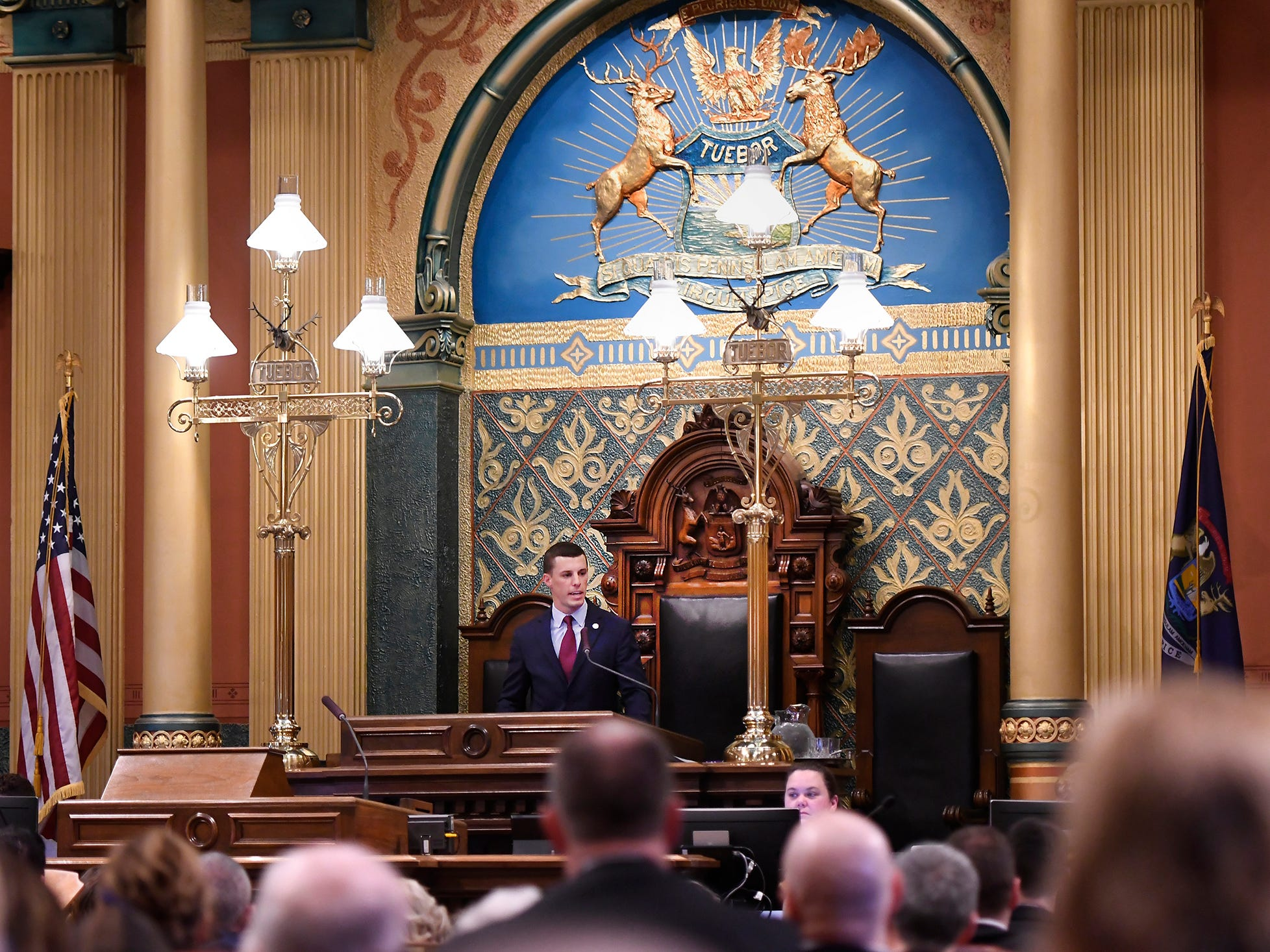 New Speaker of the House Lee Chatfield R-Levering, speaks to the house members and guests.