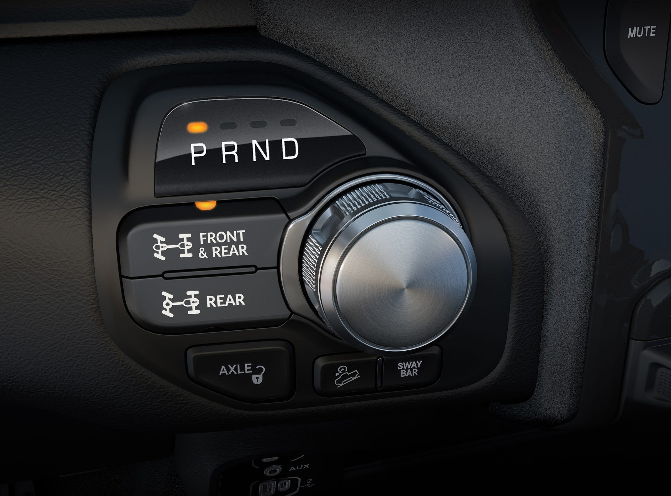 2019 Ram 2500 Power Wagon 8-speed rotary shifter with controls for off-road components