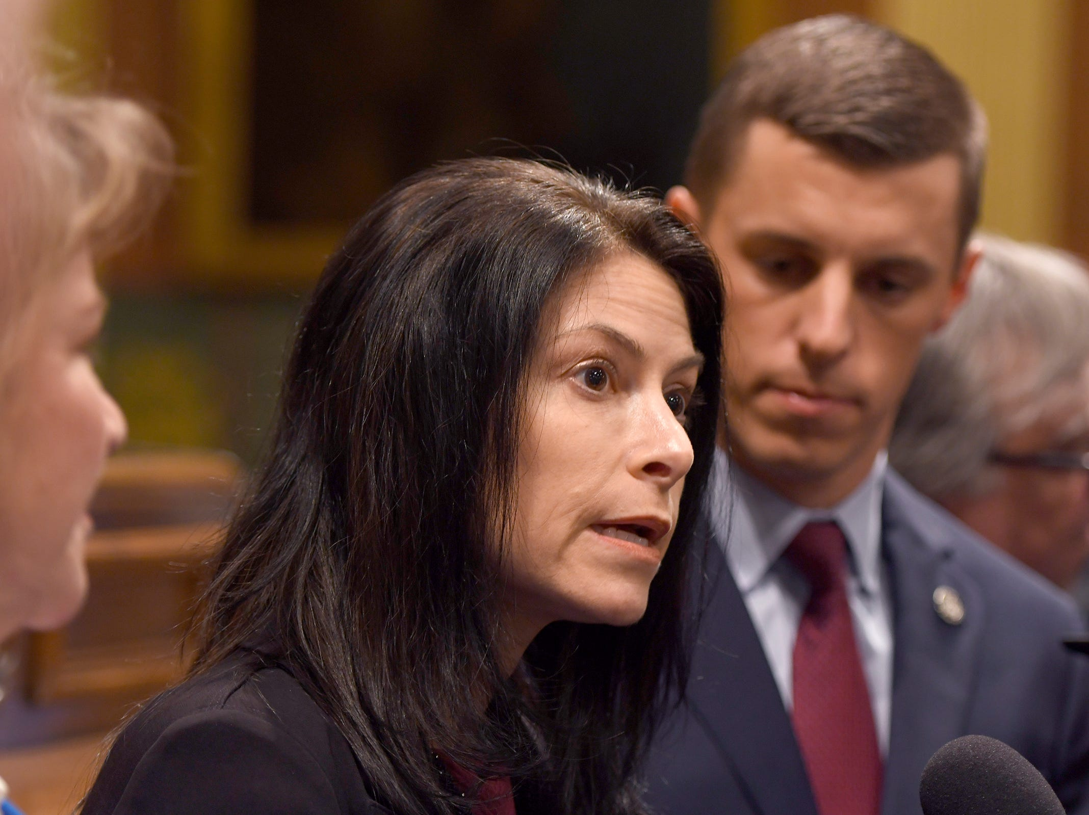 Michigan Attorney General Dana Nessel, and House Speaker Lee Chatfield speak to the media after the opening ceremonies.