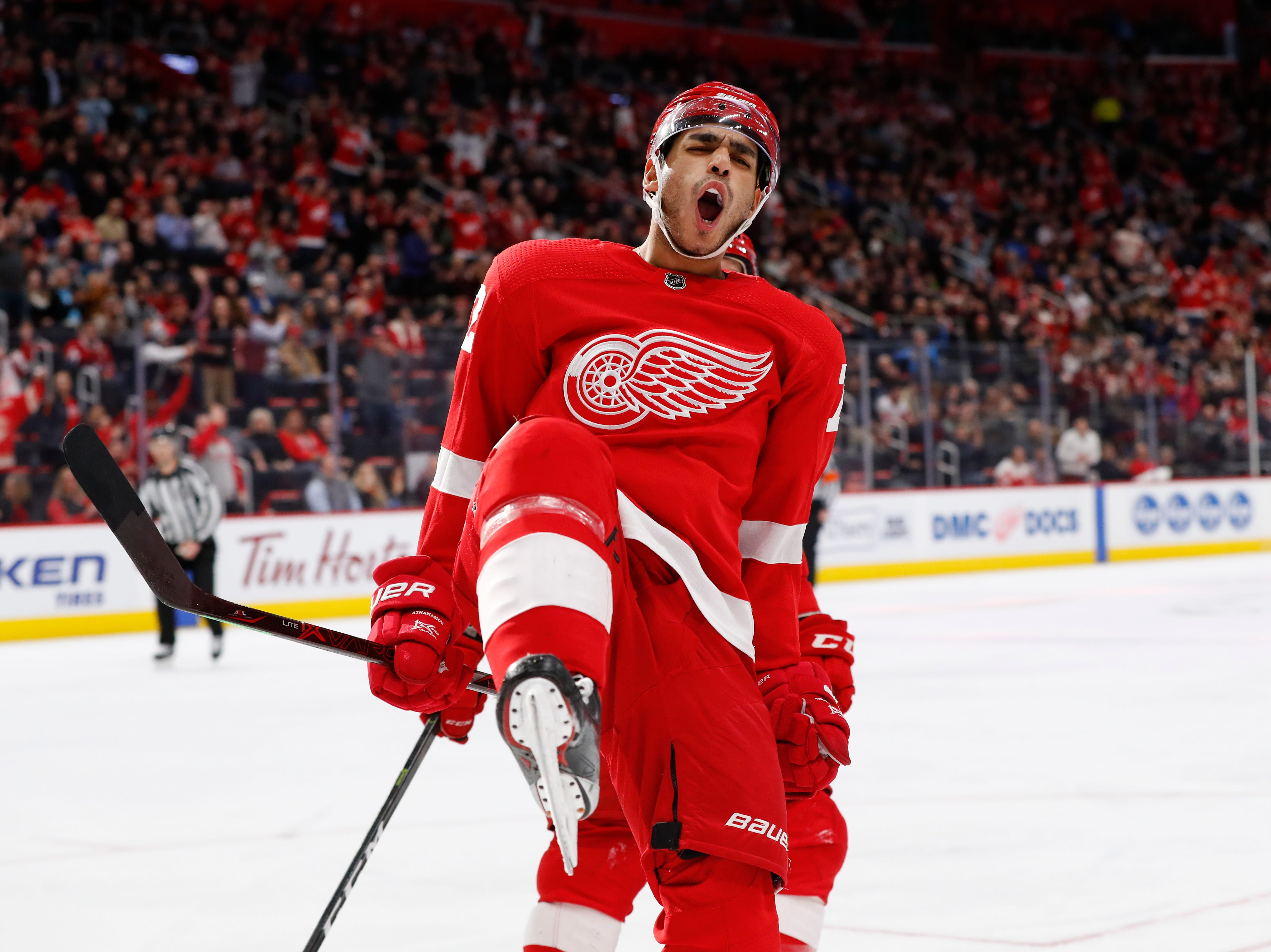 Detroit Red Wings center Andreas Athanasiou celebrates his goal against the Montreal Canadiens in the second period.