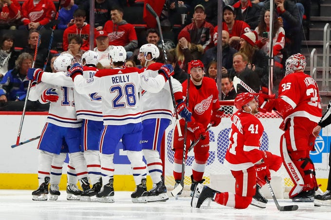 Montreal Canadiens right wing Brendan Gallagher (11) celebrates his goal against the Detroit Red Wings in the second period of an NHL hockey game Tuesday, Jan. 8, 2019, in Detroit. Montreal defeated Detroit 3-2.
