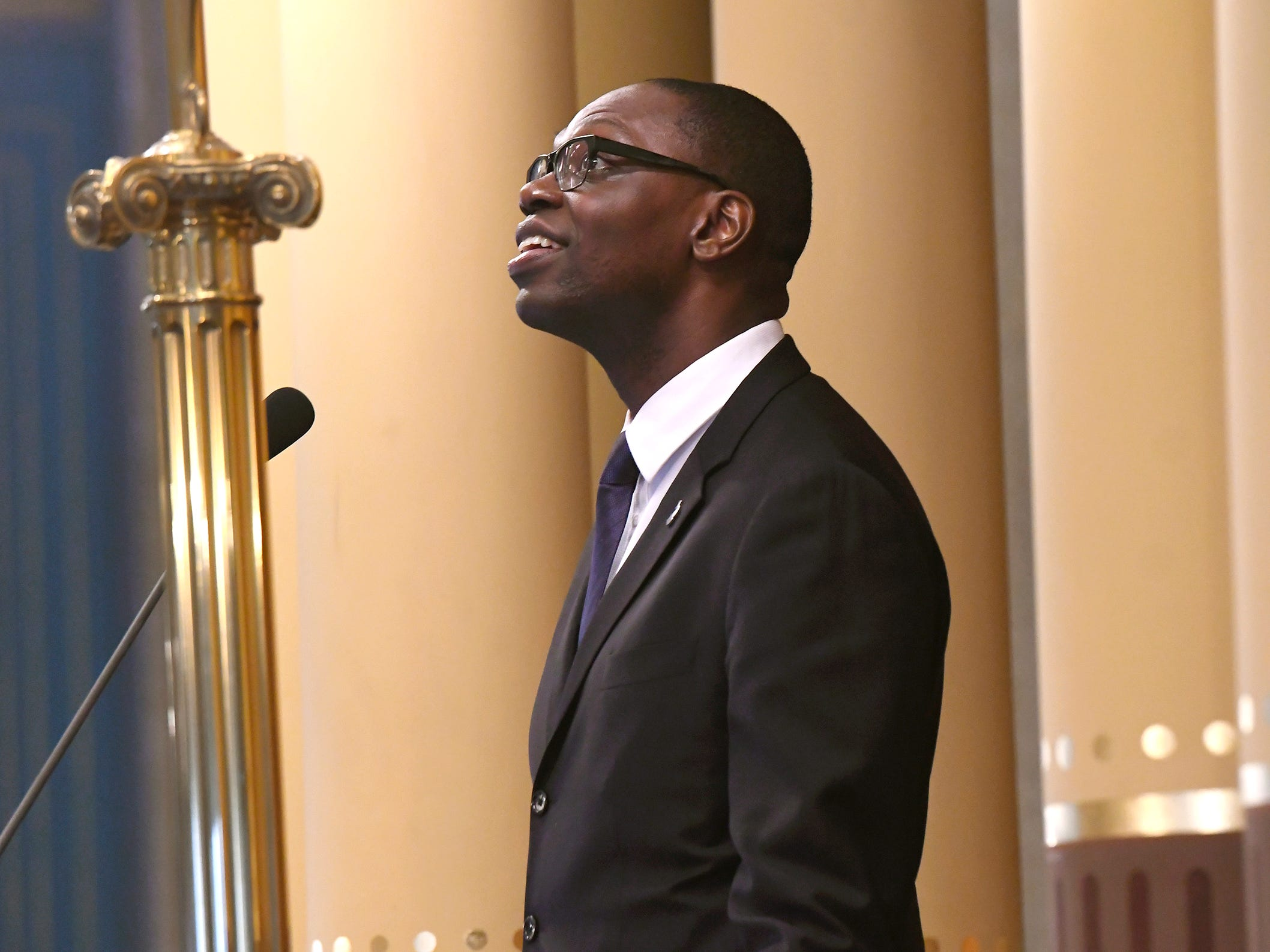 State of Michigan Lt. Gov. Garlin Gilchrist presides during opening ceremonies for the 100th Legislature.