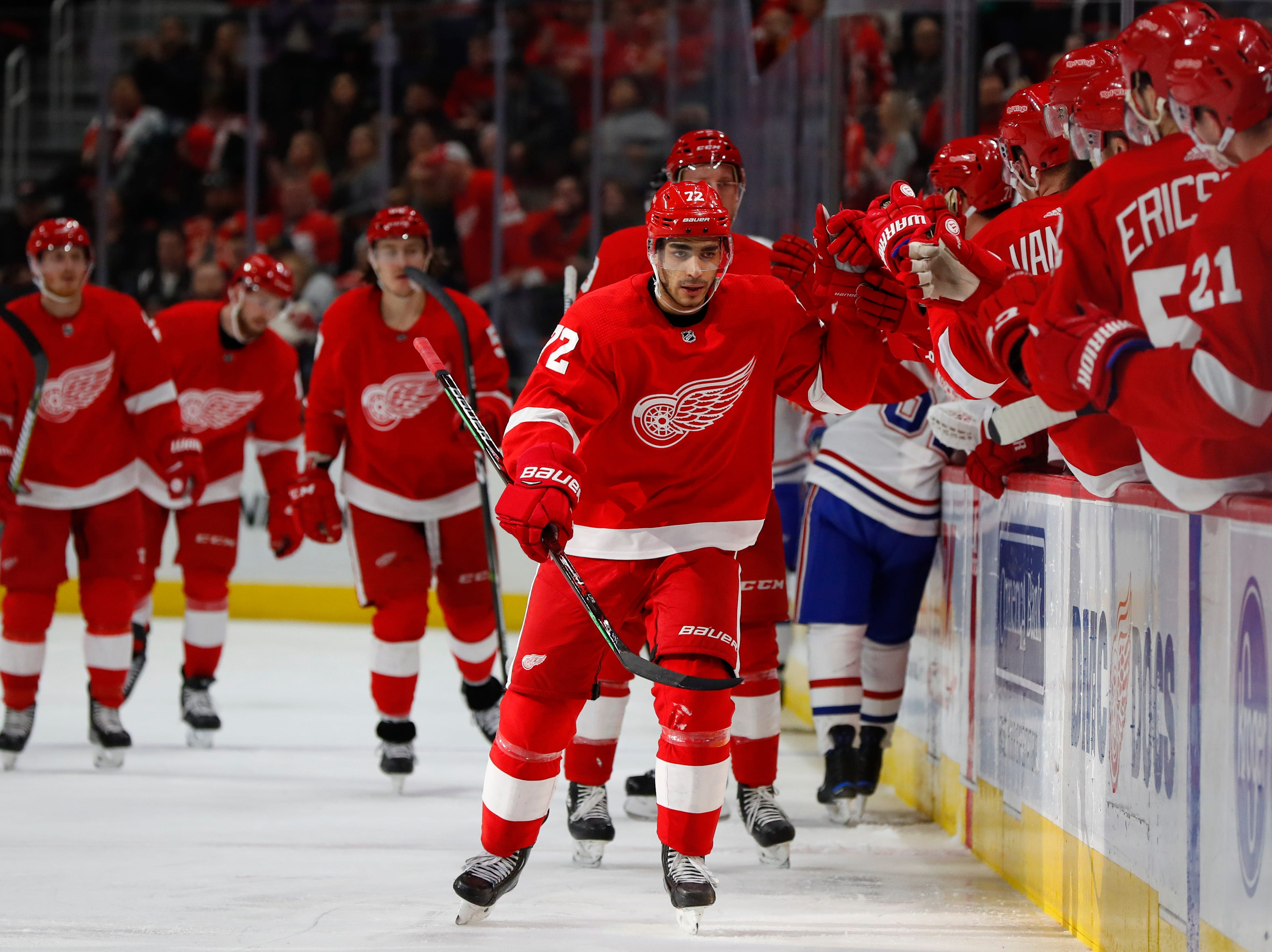 Detroit Red Wings center Andreas Athanasiou celebrates his goal against the Montreal Canadiens in the third period.