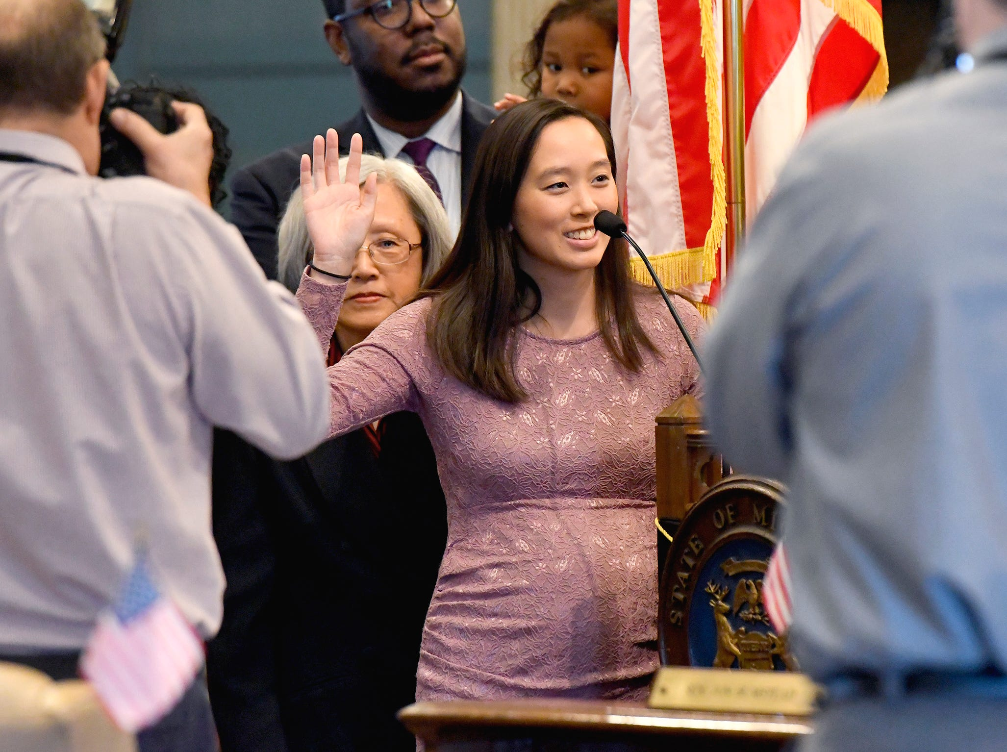 New State Sen. Stephanie Chang, D-District 1, is sworn in by Chief Justice Stephen Markman.