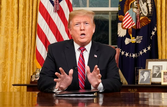President Donald Trump speaks from the Oval Office of the White House as he gives a prime-time address about border security Tuesday night