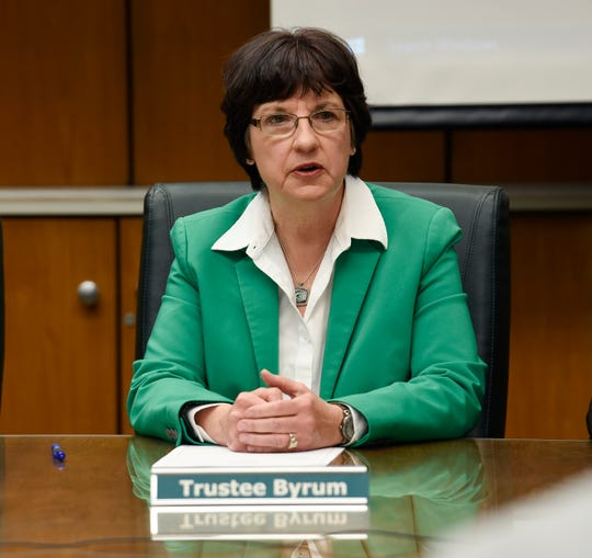 Dianne Byrum gives her remarks after being elected chair of the Michigan State Board of Trustees Wednesday.