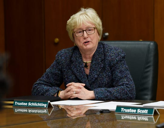 Nancy M. Schlichting gives her remarks about becoming a new member of the Michigan State Board of Trustees.