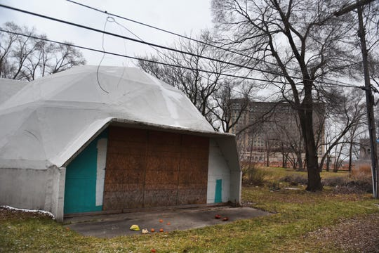 Dome structures at 2667 W. Vernor are part of land sale and are located in the shadow of the Michigan Train Depot in Detroit on Wednesday, January 9, 2019.