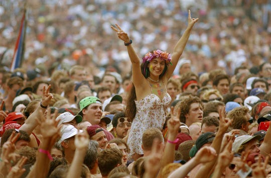 The crowd gathered in front of the main stage at Woodstock '94 in Saugerties, New York, on Aug. 13, 1994.