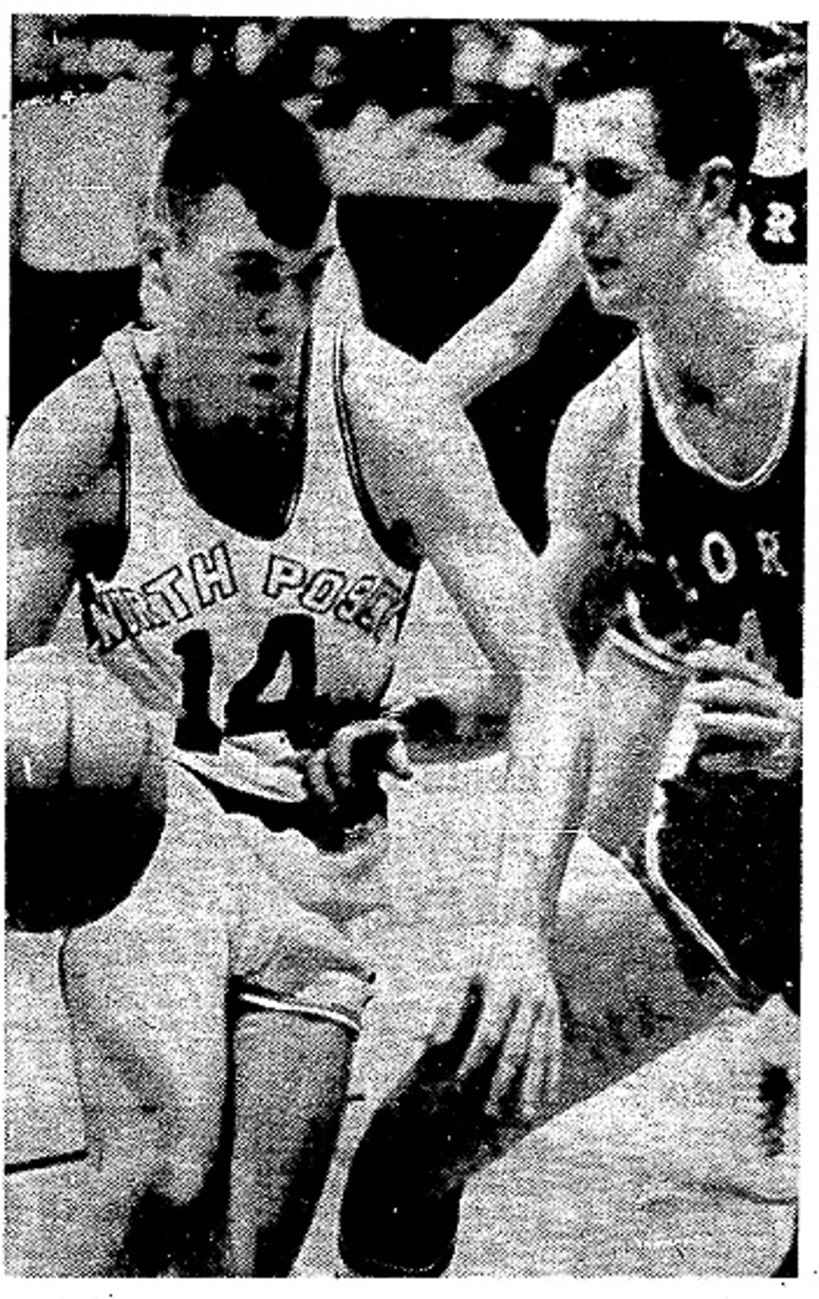 Larry Harris, right, in the 1966 Princeton Sectional, guarding North Posey's Ray Motz.