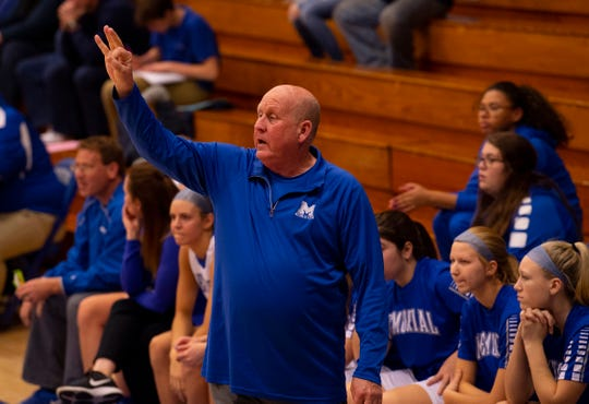 Memorial Head Coach Bruce Dockery instructs his girls against Reitz in the first round of the SIAC Tournament earlier this month.