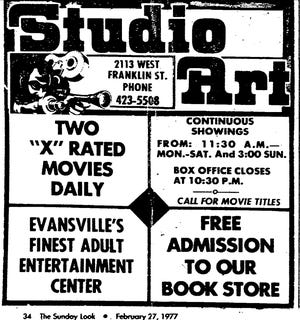 Photo of a Studio Art advertisement from the Courier in 1977. Studio Art, an X-rated theater and adult bookstore in the former Franklin Street Theater that opened January 23, 1970 and closed January 6, 1997 after 28 years in business.