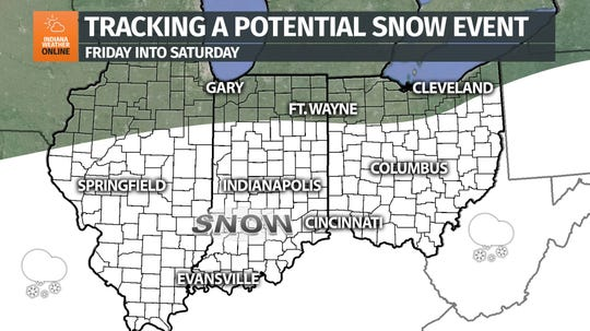 This graphic from IndianaWeatherOnline depicts a weather system that could bring snow to the Tri-State this weekend.