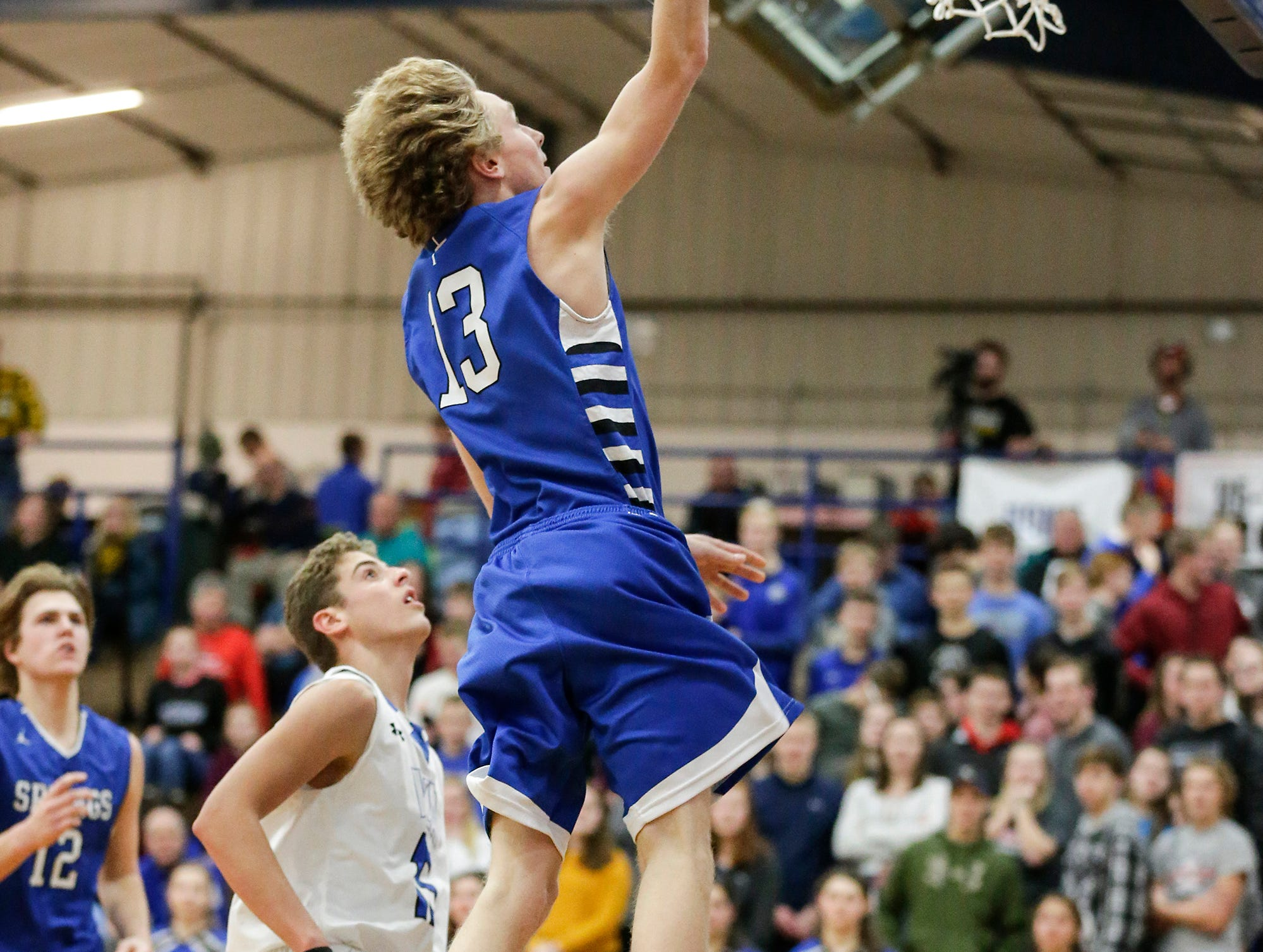 St. Mary's Spring Academy boys basketball's Myles Ottery makes this shot against Winnebago Lutheran Academy Tuesday, January 8, 2019 during their game in Fond du Lac. Winnebago Lutheran Academy won the game 69-66. Doug Raflik/USA TODAY NETWORK-Wisconsin