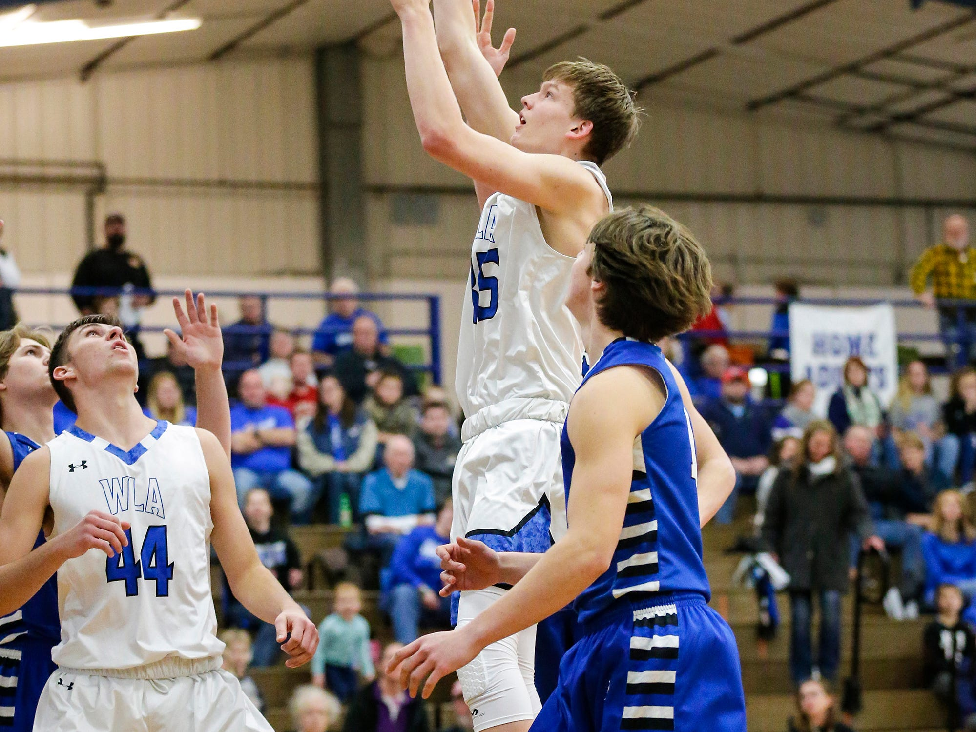 Winnebago Lutheran Academy boys basketball's Gabe Pruss goes up for a basket against St. Mary's Springs Academy Tuesday, January 8, 2019 during their game in Fond du Lac. Winnebago Lutheran Academy won the game 69-66. Doug Raflik/USA TODAY NETWORK-Wisconsin