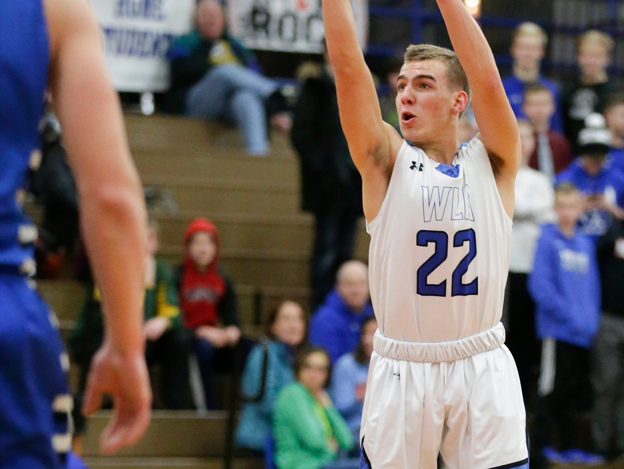 Winnebago Lutheran Academy boys basketball's Donovan Schwartz takes a shot against St. Mary's Springs Academy Tuesday, January 8, 2019 during their game in Fond du Lac. Winnebago Lutheran Academy won the game 69-66. Doug Raflik/USA TODAY NETWORK-Wisconsin
