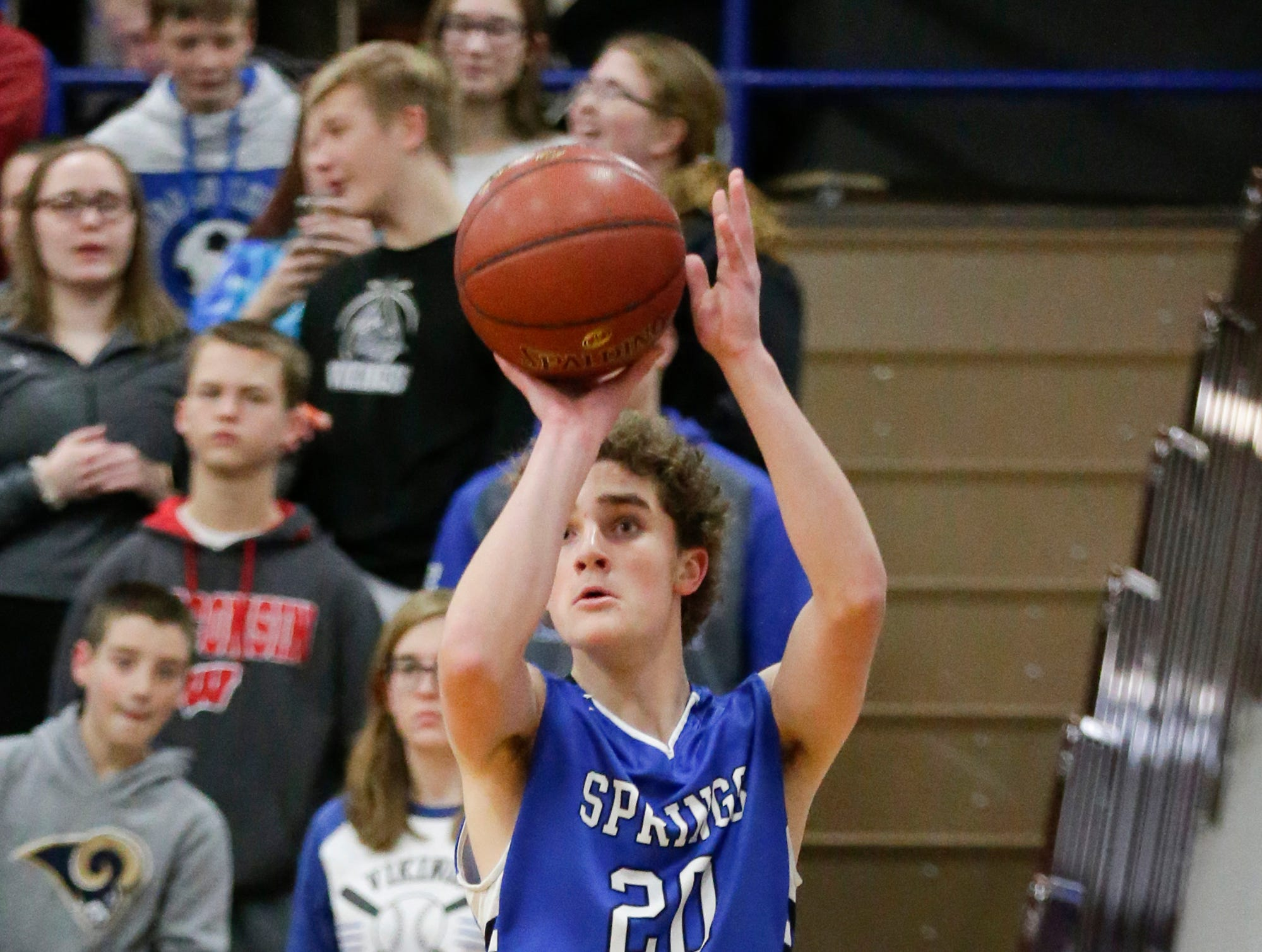 St. Mary's Spring Academy boys basketball's David Mueller attempts a shot against Winnebago Lutheran Academy Tuesday, January 8, 2019 during their game in Fond du Lac. Winnebago Lutheran Academy won the game 69-66. Doug Raflik/USA TODAY NETWORK-Wisconsin