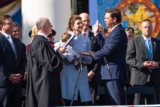 Joined by his family and hundreds of his supporters, Ron DeSantis was sworn into office as the 46th governor of the State of Florida on the steps of the Old Florida State Captiol Building in Tallahassee on Tuesday.