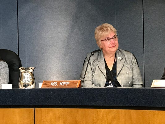 Cathy Kipp sits for her last Poudre School District Board of Education meeting Tuesday