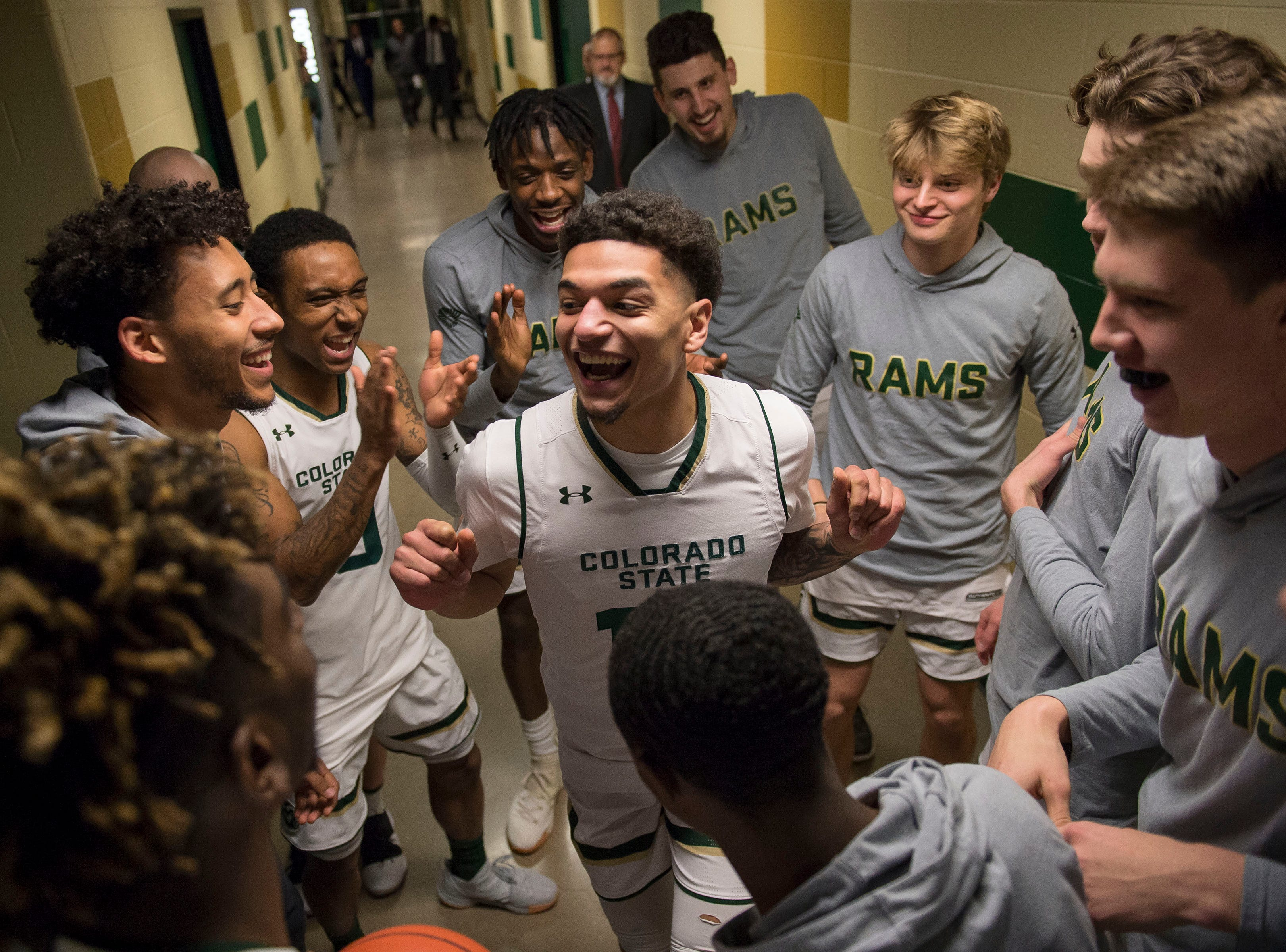Colorado State University junior guard Anthony Masinton-Bonner (15) dances in the tunnel while getting hyped up with his team before a game against the Air Force Academy on Tuesday, Jan. 8, 2019, at Moby Arena in Fort Collins, Colo.