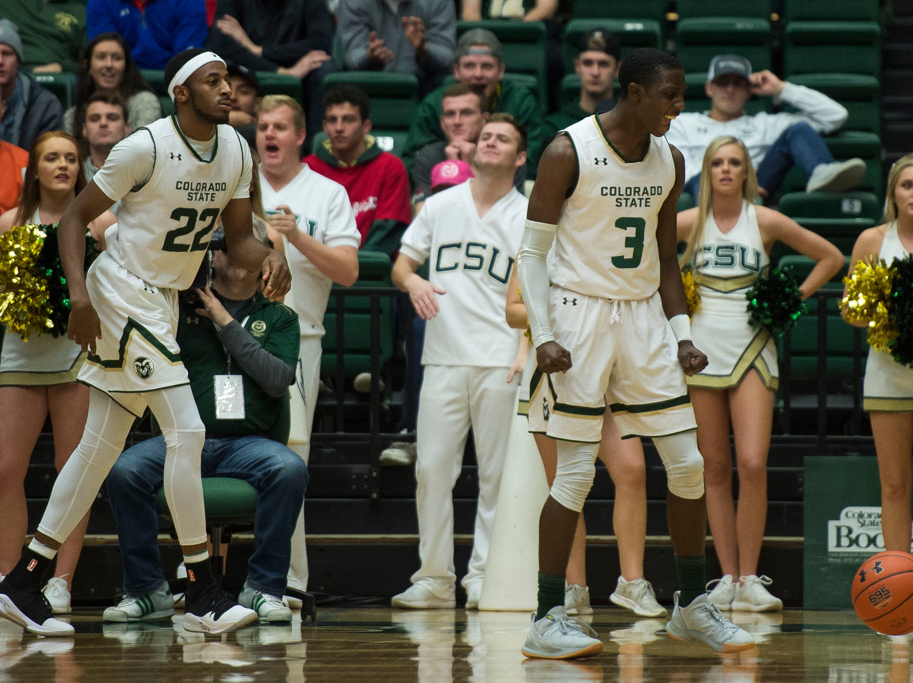 Colorado State University freshman guard Kendle Moore (3) celebrates after a play against the Air Force Academy on Tuesday, Jan. 8, 2019, at Moby Arena in Fort Collins, Colo.