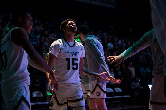 Colorado State University junior guard Anthony Masinton-Bonner (15) is introduced before a game against the Air Force Academy on Tuesday, Jan. 8, 2019, at Moby Arena in Fort Collins, Colo.