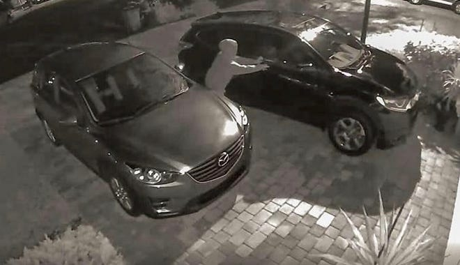 An attempted vehicle burglary at The Lakes of Estero was caught on one homeowner's  security camera Monday. Eight break-ins were reported at the community, part of 21 reported across Lee County that night.