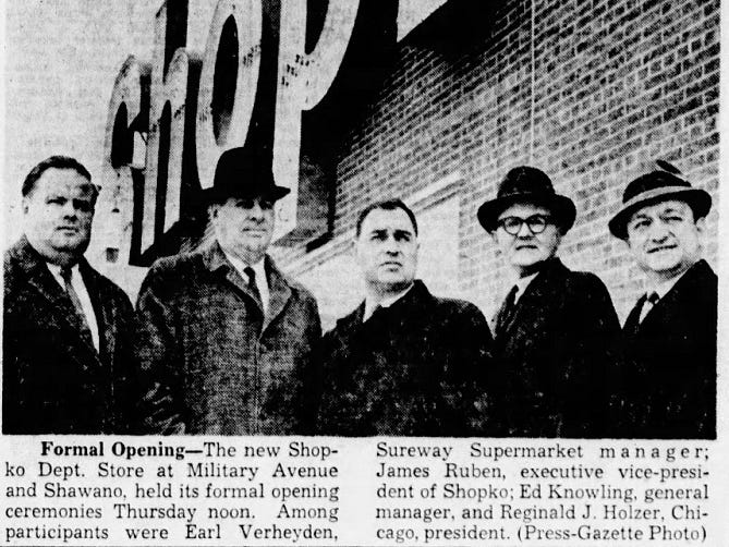 A  Green Bay Press-Gazette photo from the opening of Shopko's first store, 216 S. Military Ave. in Green Bay, on April 5, 1962.