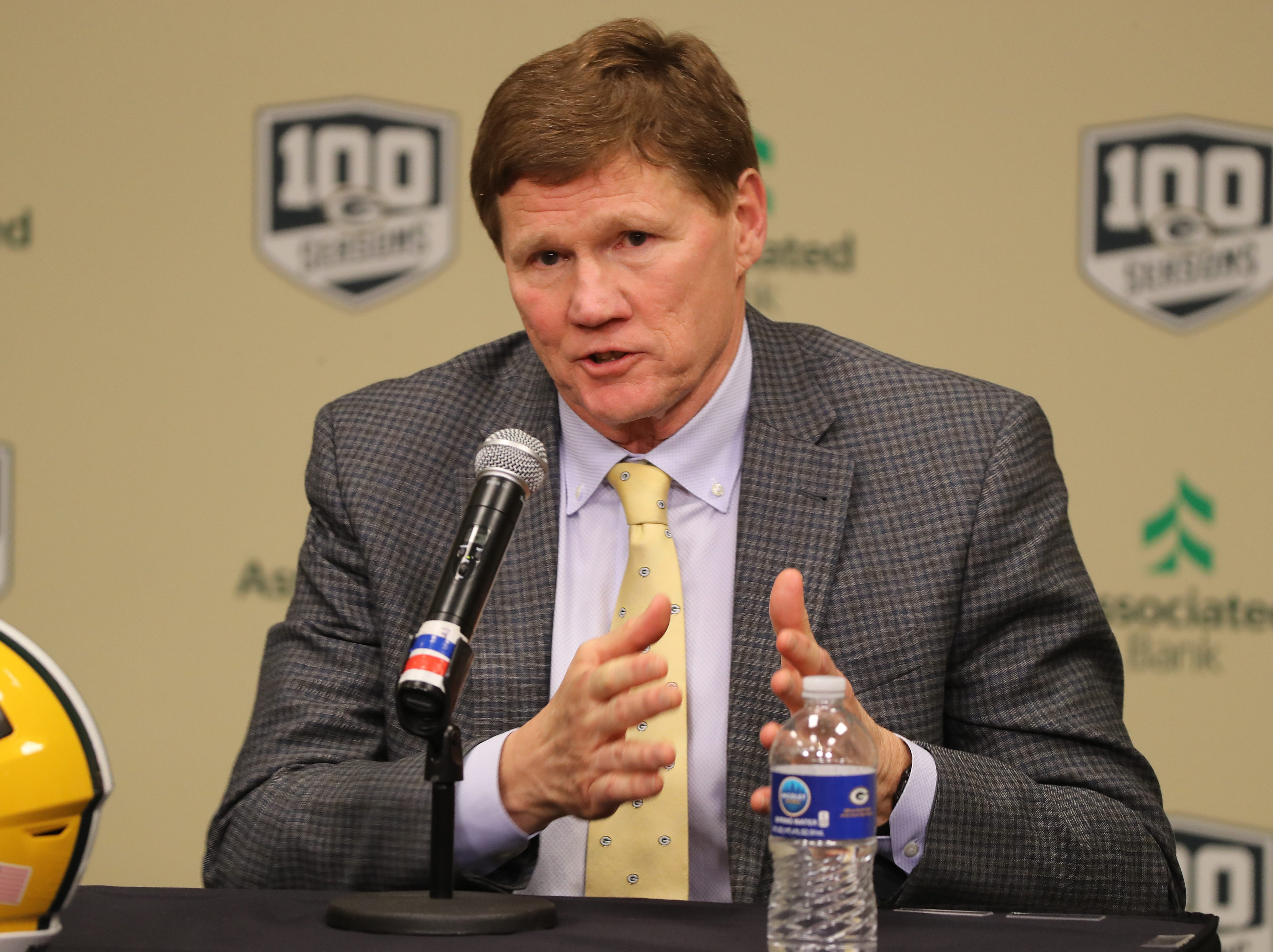 Green Bay Packers president Mark Murphy talks about the head coach interview experience as new head coach Matt LaFleur is introduced during a press conference in the Lambeau Field media auditorium Wednesday, January 9, 2019 in Green Bay, Wis.
