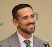 New Green Bay Packers head coach Matt LaFleur is introduced during a press conference in the Lambeau Field media auditorium Wednesday, January 9, 2019 in Green Bay, Wis.