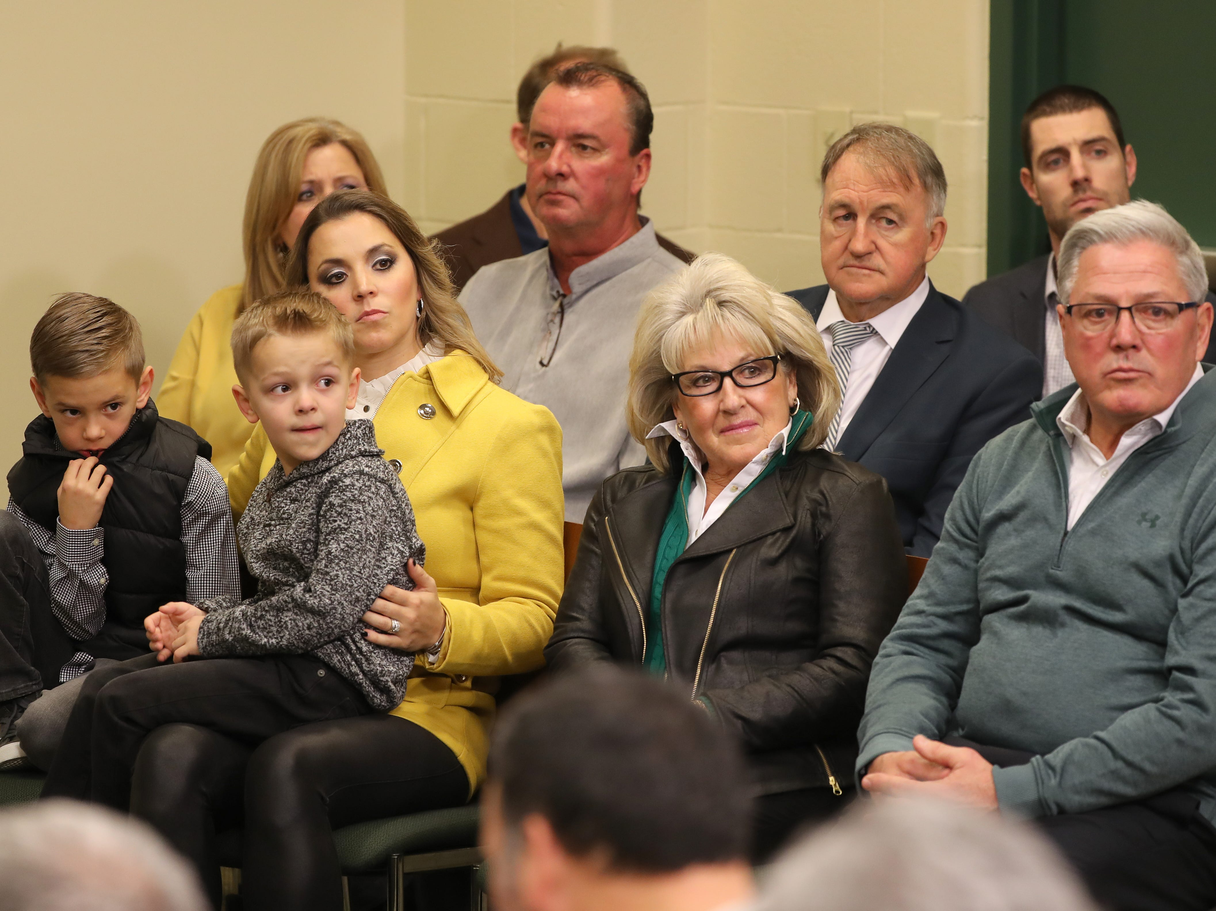 The family of new Green Bay Packers head coach Matt LaFleur looks on during media questioning as LaFleur is introduced during a press conference in the Lambeau Field media auditorium Wednesday, January 9, 2019 in Green Bay, Wis.