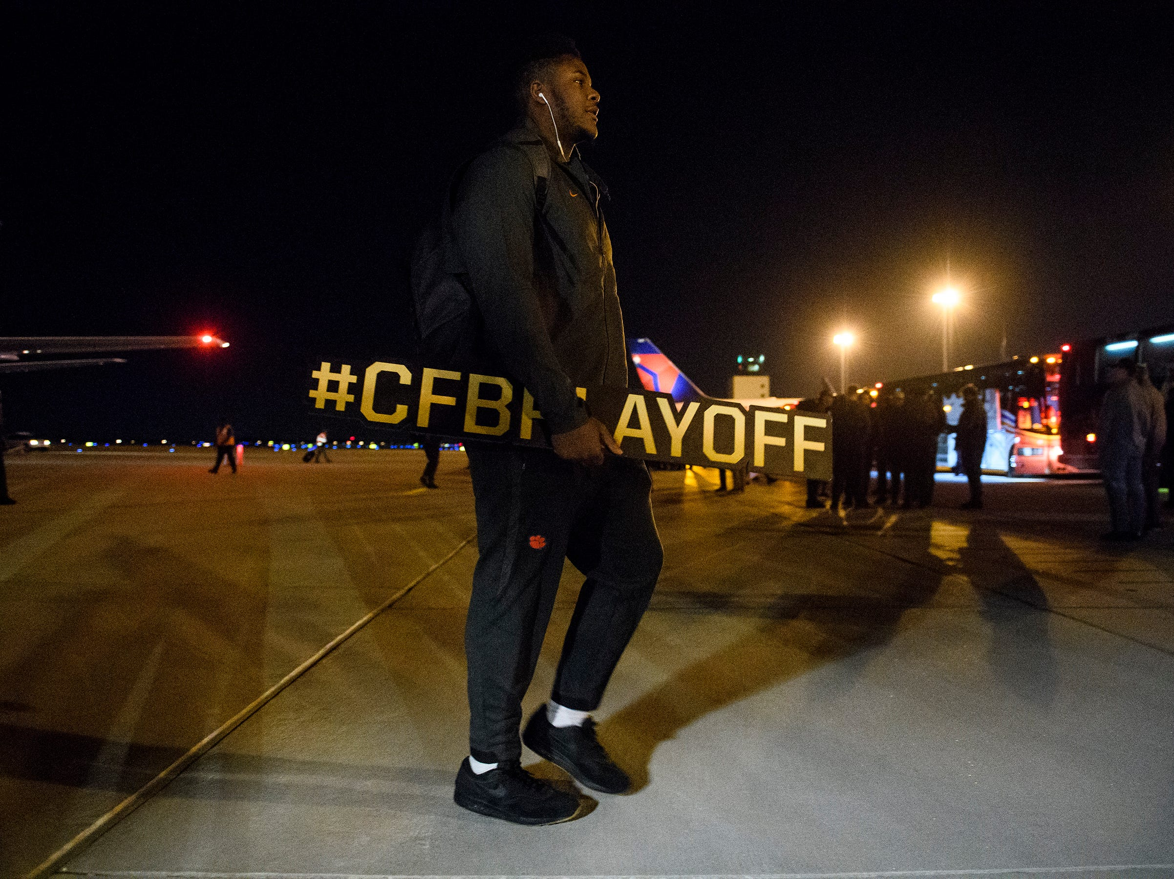 The Clemson Tigers arrive at Greenville Spartanburg International Airport on Tuesday, Jan. 8, 2019 after their National Champion game against Alabama.