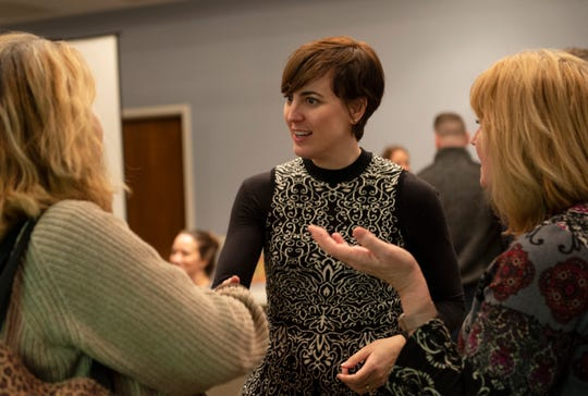 Travelers Rest Mayor Brandy Amidon talks to people after the Pinestone Development Community Meeting at Travelers Rest United Methodist Church Tuesday, Jan. 8, 2019.