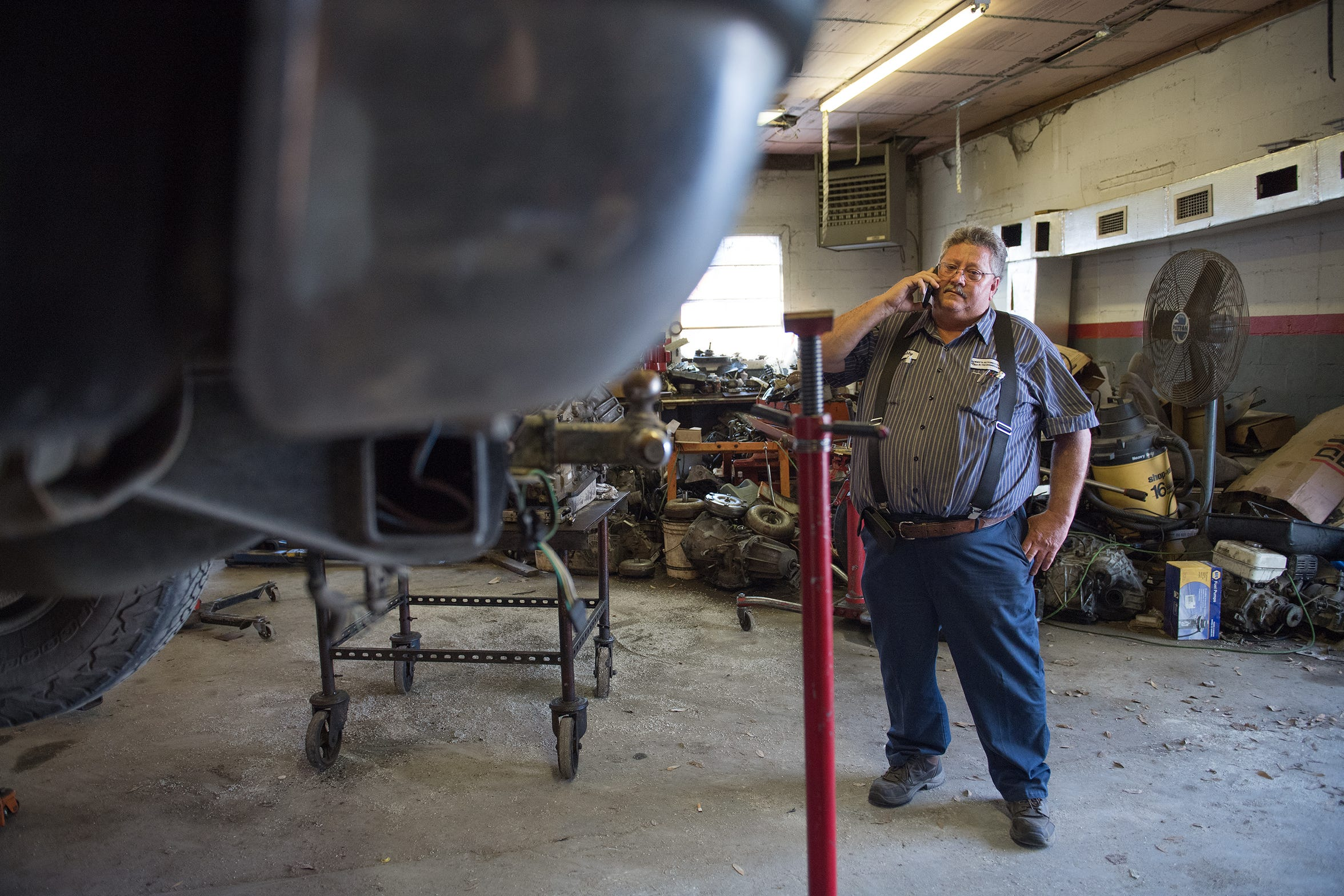 Bobby Gore in his automotive shop in Nichols in 2018. He was putting his business and life back together after police seized cash from him when they discovered marijuana in his car.