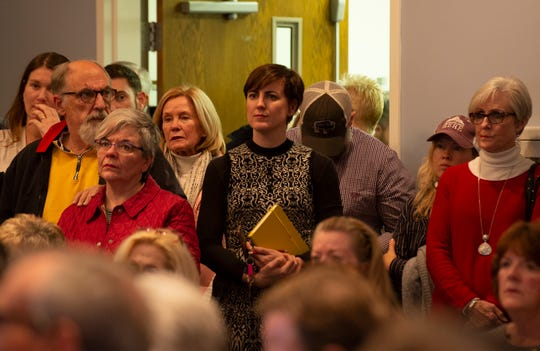 Travelers Rest Mayor Brandy Amidon attends a presentation during the Pinestone Development Community Meeting at Travelers Rest United Methodist Church Tuesday, Jan. 8, 2019.