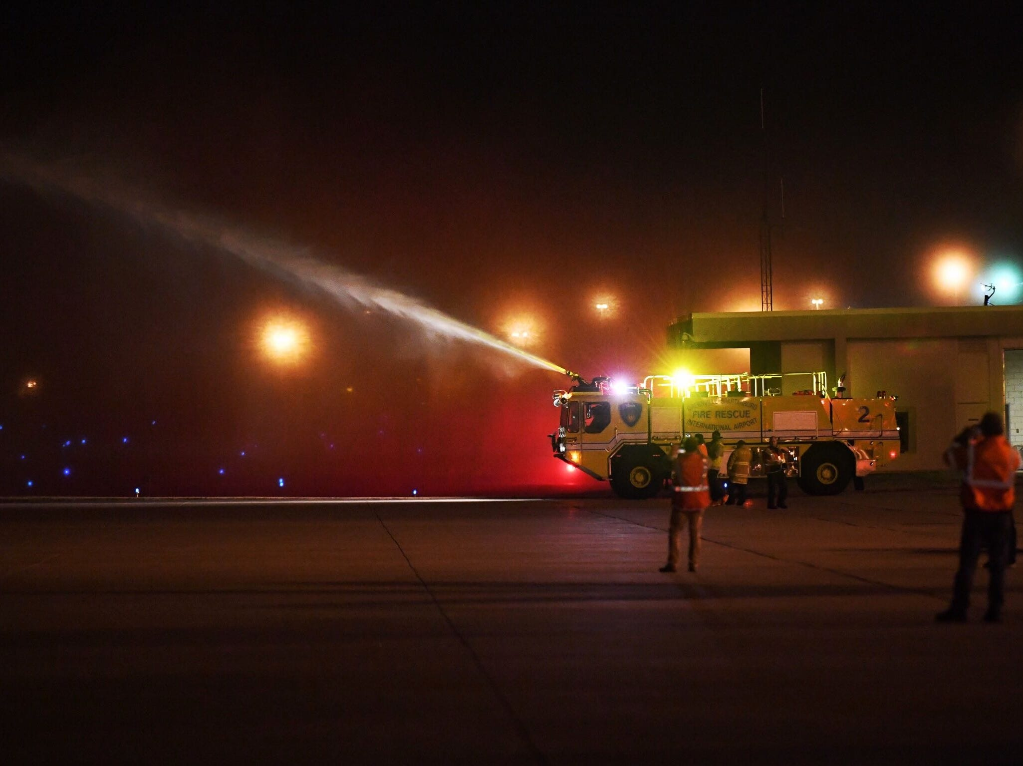 The plane carrying Clemson players and coaches was given a firetruck salute after arriving at Greenville-Spartanburg International Airport on Tuesday night.