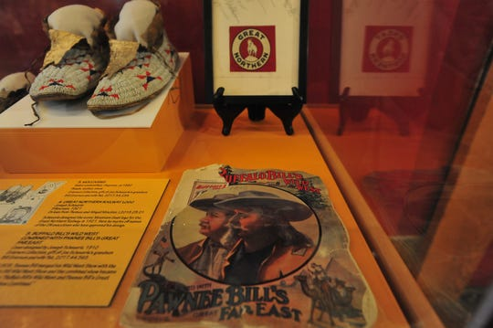 Items in the Joe Scheuerle exhibit at the Montana Historical Society in Helena include the logo Scheuerle designed for Great Northern Railway, a cover for Buffalo Bill's Wild West show and a number of Native American portraits he painted in the early 1900's