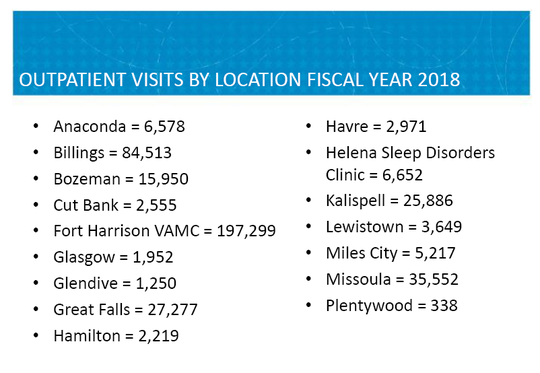 Graphic shows outpatient visits by location at Montana VA facilities in 2018.