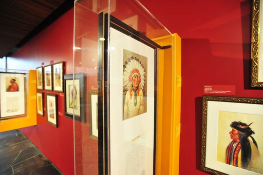 Joe Scheuerle exhibit of Native American portraits on display at the Montana Historical Society in Helena.