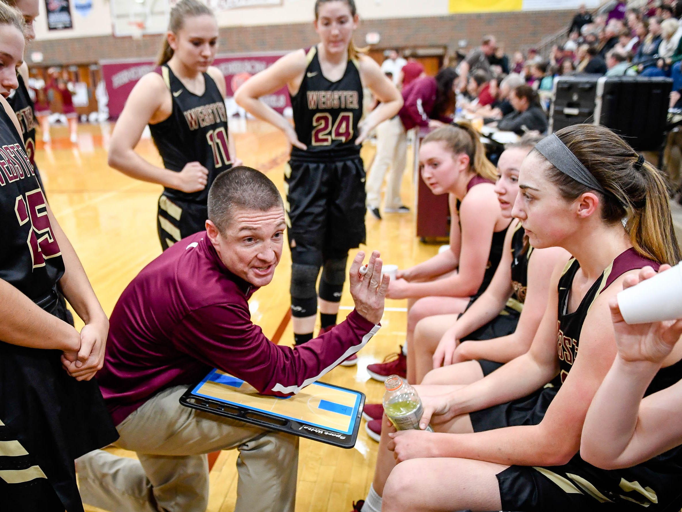 Webster County head coach Brandon Fisher talks to his team during a timeout as the Henderson County Lady Colonels play 6th district rival the Webster County Lady Trojans at Henderson's Colonel Gym Tuesday, January 8, 2019.