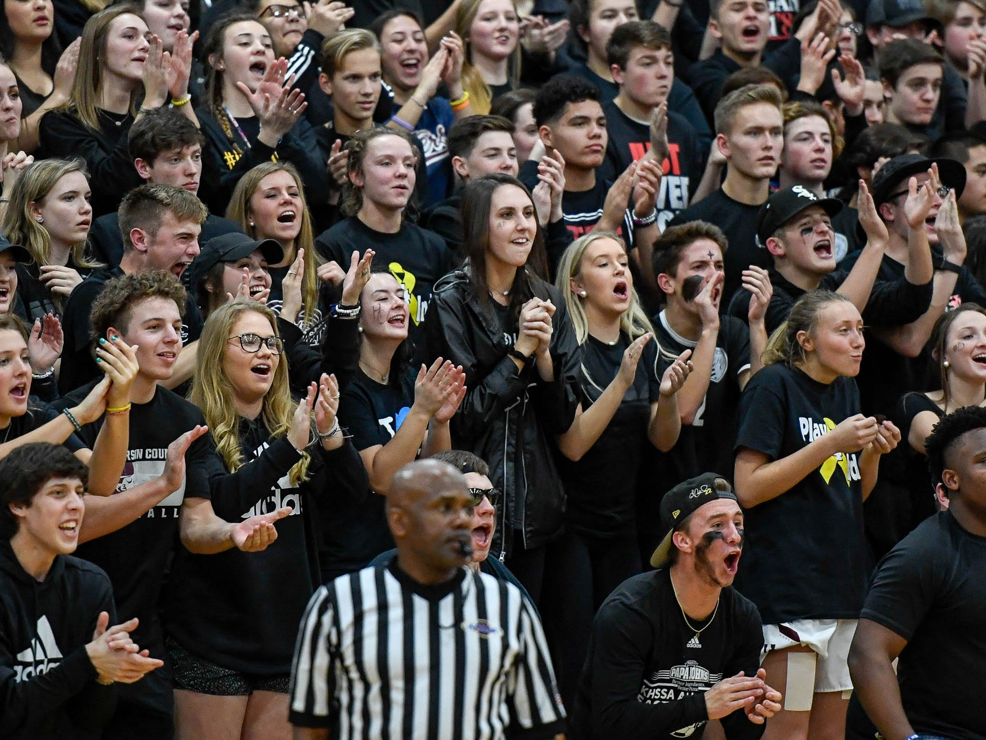 The Henderson County student section as the Henderson County Colonels play 6th district rival the Webster County Trojans at Henderson's Colonel Gym Tuesday, January 8, 2019.