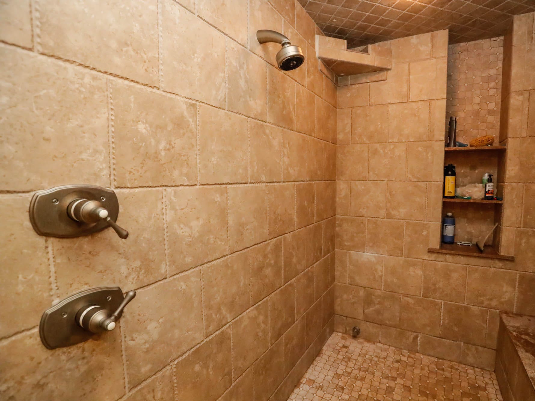 The master bath features a large walk-in shower in a $2 million Bargersville Ind. home up for sale on Wednesday, Jan. 9, 2019. The house sits on 8.1 acres.